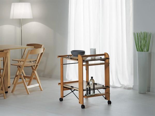 Итальянский деревянный сервировочный столик на колесах от Foppapedretti